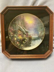 Thomas Kinkade Collector Plate Ralbrooke Cottage With Frame