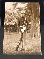Antique Pre-wwi United States Marine Corps Soldier Real Photo Postcard W Weapon