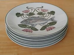 Set Of 5 Villeroy And Boch 10-in Dinner Plates, 5 Designs, Fish/floral, Luxembourg