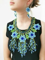 Authentic Mexican Handmade Huichol Beaded Necklace Set - Blue Flower Knockout