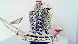 Old Victory Wooden Sailing Boat Model Ship Assembled Decoration Pirate Vessel