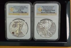 2013-w West Point Eagle 2-coin Set Ngc Sp70/pf70 Enhanced/reverse Proof Er
