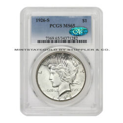 1926-s 1 Silver Peace Dollar Pcgs Ms65 Cac Certified San Francisco Coin