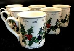 Portmeirion The Holly And The Ivy Set Of 6 Breakfast Mugs Discontinued