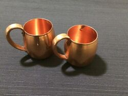 Two Vintage West Bend Aluminum Co Solid Copper Mugs Made In Usa