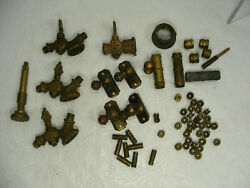 Antique Victorian Brass Gas Petcock Valve Fittings Lot - Steampunk Parts