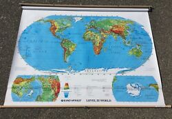 Vintage 70s ?? Pull Down WALL WORLD MAP Rand McNally Home School? Shade?? NEAT