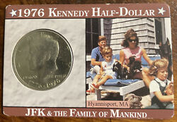 1976 50c Kennedy Half Dollars In Display Card Jfk And The Family Of Mankind Nato