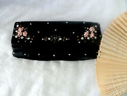 Vintage Beaded Satin Evening Bag Clutch Exquisite Comes with Fan $19.99