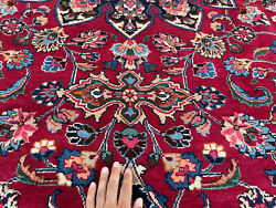 10x14 Vintage Rug Hand-knotted Wool Antique Oriental 10x13 Red Blue Big Handmade
