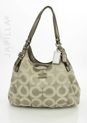 Coach Maggie Optic Pewter Gray With Khaki Reflections Canvas Shoulder Bag Purse