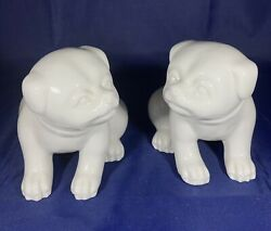 Pair Of Fitz And Floyd Vintage White Ceramic Chubby Pug Figurines Puppy Dog