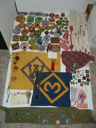 Vintage Lot Of Boy/cub Scout Pins Patches Tie Slides Medals Order Of Arrow