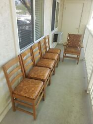 Antique Landjg Stickley Mission Oak Chairs And Table Lot