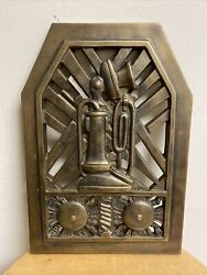 Vintage Brass Candlestick Telephone Booth Sign Plaque Grate Art Deco
