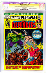 Marvel Feature 2 The Defenders Cgc 8.5 Signature Ss Comic Signed By Stan Lee