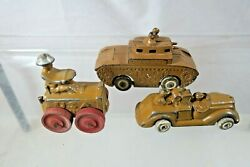 Vintage 1930's Barclay And Manoil Army Military Tractor, Tank 4562 And Truck Lot