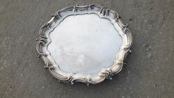 Antiques Sterling Silver Round Shaped Footed Tray. Mappin And Webb Hallmarked