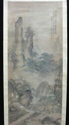 Very Large Antique Chinese Scroll Hand Painting Landscape Dongwanzhen Mark