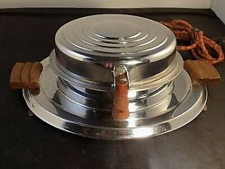 General Electric Waffle Iron Maker Vintage Round 119y191 Art Deco - Very Clean
