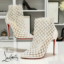 New Christian Louboutin Leather Booties White Color Women 38 25cm Size