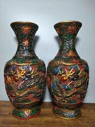 Antique China Dynasty Wood Lacquerware Dragon Loong Flower Bottle Wine Vase Pair