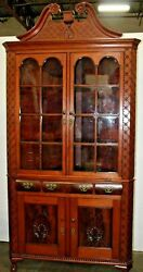 Antique Eastlake Victorian Hand Carved Corner Cabinet. 2 Pc. W/ Top Finial