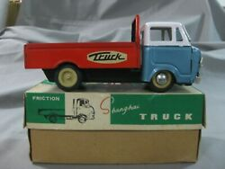 Vintage 60's Red China Tin Toy Truck Friction Shangai Mf166-work-extremely Rare