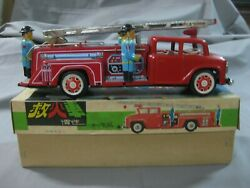 Vintage 60's Red China Tin Toy Firetruck Friction With Siren Mf718-working-rare