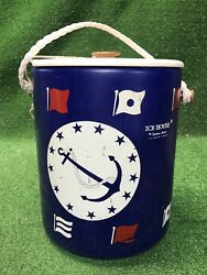 Vintage Mcm Hamilton Skotch Ice House Drum Boat Yachting Cooler Nautical Themed