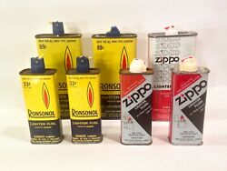 Vintage Ronsonol And Zippo Lighter Fluid Advertising Sign Handy Oiler Style Can
