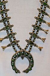 Fox Turquoise Squash Blossom Necklace With Earrings - B. Johnson