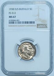 1938 D/s Ngc Ms67 Fs-512 Omm Over Mint Mark Buffalo Nickel Tied For Finest