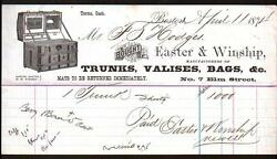 1874 Boston -- Easter And Winship - Trunks Valises Bags Luggage - Letter Head