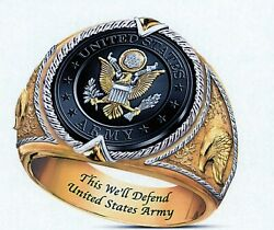 Us Army Seal With Eagl Gold Ip Stainless Steel Ring -size 7