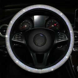 White Car Steering Wheel Cover Universal Accessories Auto Glitter Bling