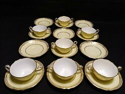 Rare Copeland Spode For And Co. Of New York Ivory And Gold 7 Cups 12 Saucers