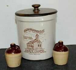 Pottery Crock With Wooden Lid Plus 2 Tone Brown Jug Salt And Pepper