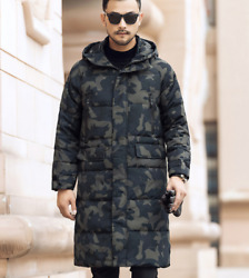 Mens Duck Doen Coat Mid Length Jacket Hooded Camouflage Plus Loose Casual Winter