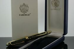 Michel Perchin Faberge Ribbed Green And Gold Plate 925 Fountain Pen 32552