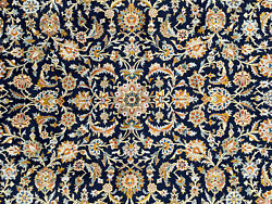 Blue Vintage Oriental Rug 8x12 Wool Hand-knotted Antique Handwoven Handmade 8x11