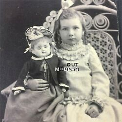 Antique Cabinet Card Photo Portrait German Bisque Doll /patent Washable And Girl