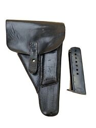 Rare Walther P38 Holster And Magazine German Leather 2 Piece Soft Shell Ww2 Wwii