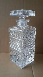 Vintage Carafe Glass Whiskey Liquor Wine Drink Decanter Like Crystal 9 Inch
