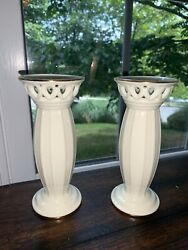 New Ivory With Gold Lenox Candlestick Holders