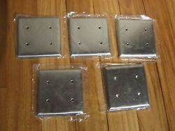 Lot Of 5 Polished Chrome Blank Switch Wallplate Cover Outlet Sierra Electric
