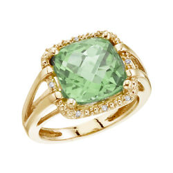 Lxr 14k Yellow Gold 10 Mm Green Amethyst And Diamond Rope Ring
