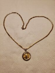 22k Yellow Gold Necklace 18 Inches And 24k Collectible Coin Pendant