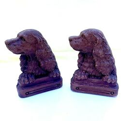 Vintage Syroco Ornawood Cocker Spaniel Dog Bookends Canine Mid-century 6 1/8