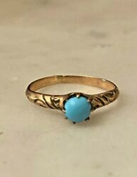 Antique Victorian 10k Yellow Gold Turquoise Cabochon Ring Size 4.5